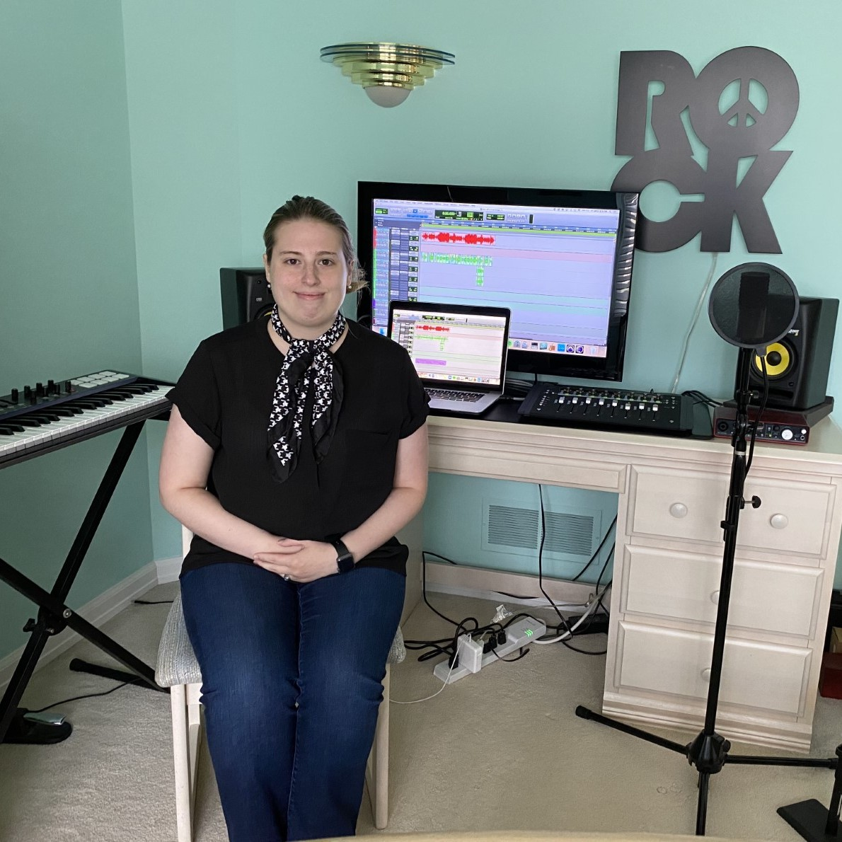 """Jackie Loupakos is a songwriter, audio engineer, and AV technician. She graduated from Columbia College Chicago majoring in Audio Design and Production. Her mission is to provide artists with audio that is honest, accurate, and meaningful through sound design and post-production, utilizing a wide variety of platforms. She is excited to be a part of the """"PlaybackPlayfwd"""" project."""
